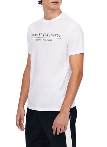 Armani Exchange  % 100 Pamuklu Bisiklet Yaka T Shirt Erkek T Shırt S 6Hztlı Zj9Az 1100 Beyaz